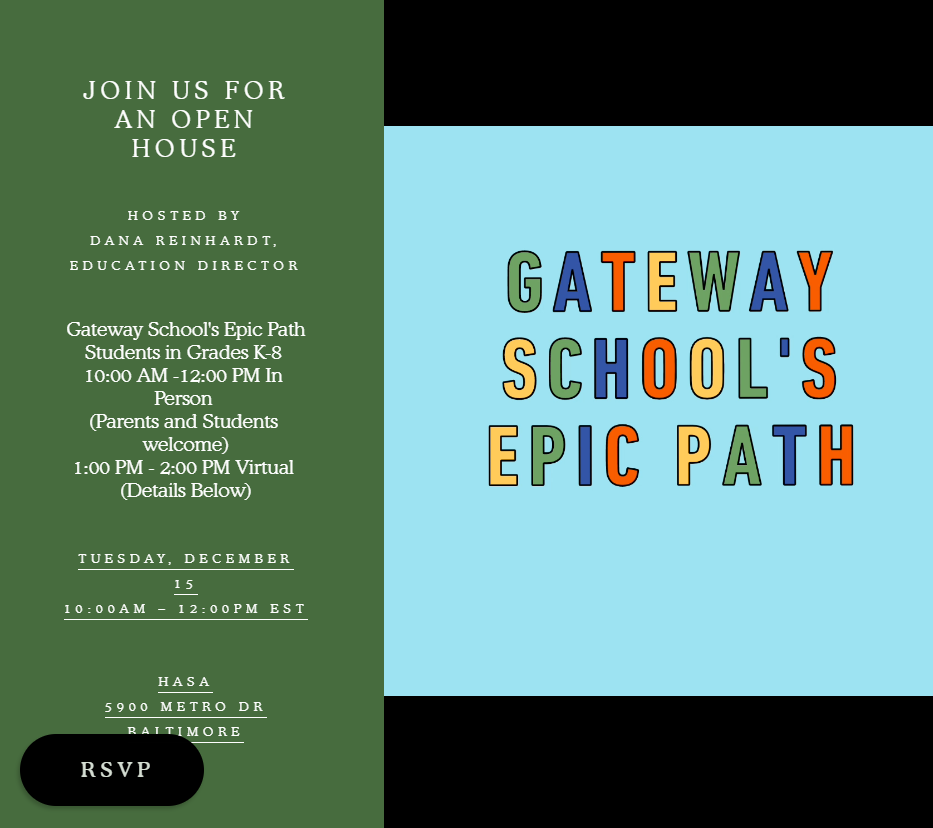 Open House for Gateway School's Epic Path